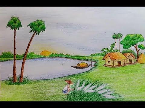 صور رسم منظر طبيعي سهل للاطفال , كيف ترسم منظر طبيعي للاطفال