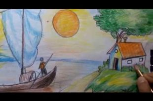 صورة رسم منظر طبيعي سهل للاطفال , كيف ترسم منظر طبيعي للاطفال