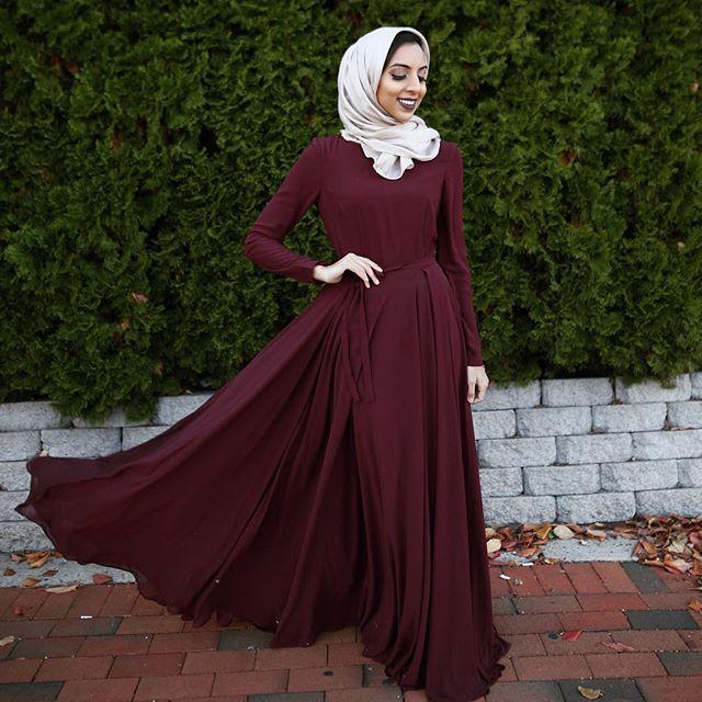 بالصور فساتين سواريه بسيطه وشيك للمحجبات , اجمل ملابس السهرات للمحجبات 4604 2