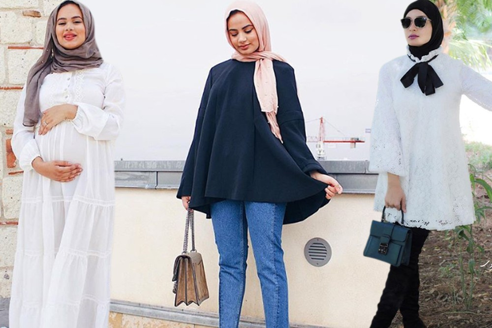 بالصور ملابس للحوامل المحجبات , الحجاب مع الحمل والتوافق فى الملابس 436 19