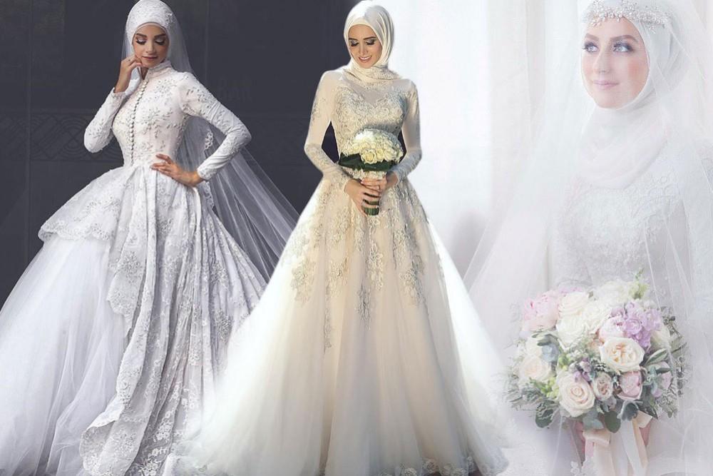 بالصور فساتين اعراس للمحجبات , الحجاب وظهورك يوم الزفاف 615 1