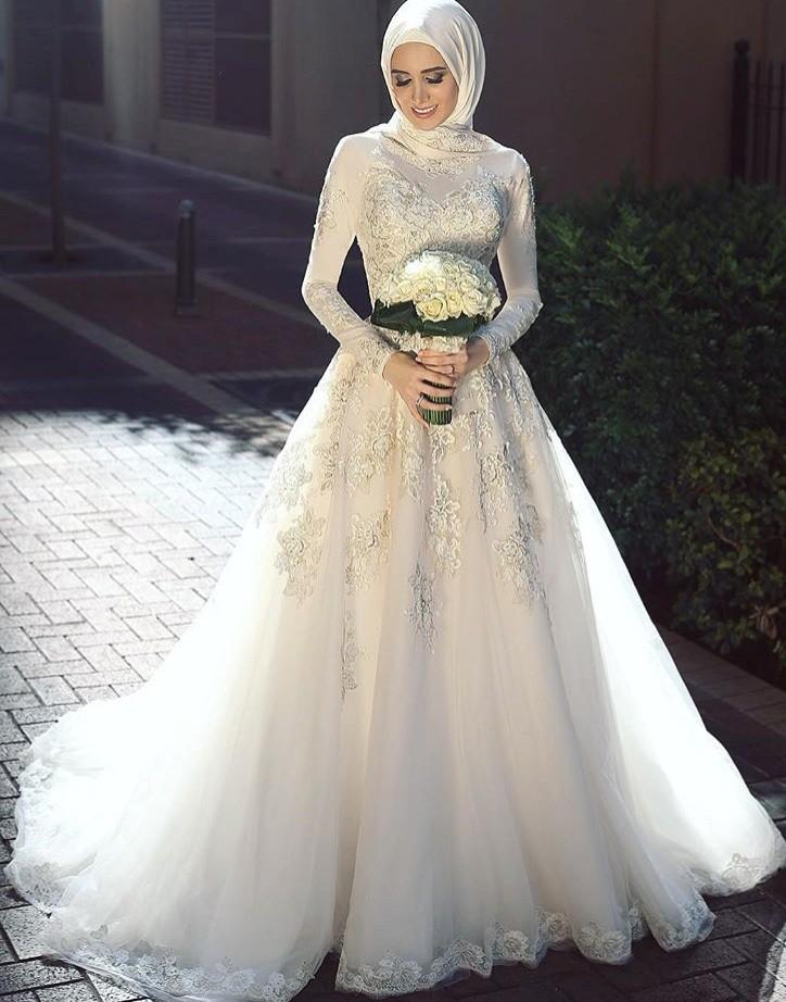بالصور فساتين اعراس للمحجبات , الحجاب وظهورك يوم الزفاف 615 10