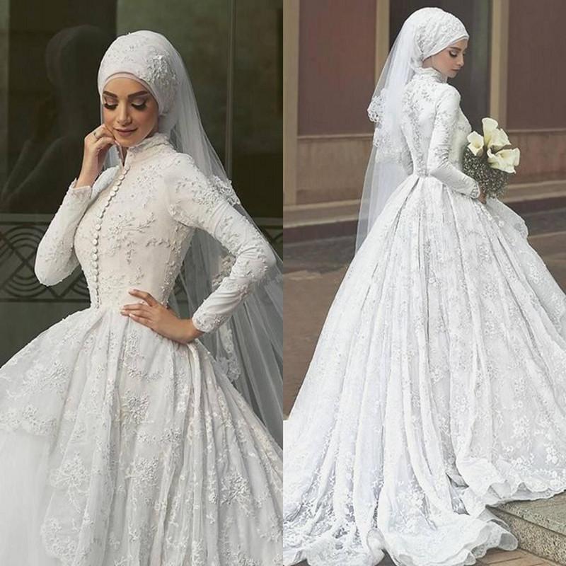 بالصور فساتين اعراس للمحجبات , الحجاب وظهورك يوم الزفاف 615 11