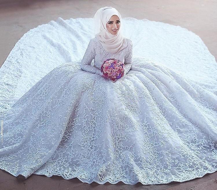بالصور فساتين اعراس للمحجبات , الحجاب وظهورك يوم الزفاف 615 2