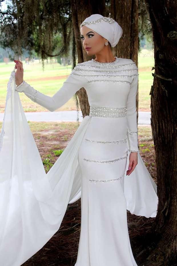 بالصور فساتين اعراس للمحجبات , الحجاب وظهورك يوم الزفاف 615 3