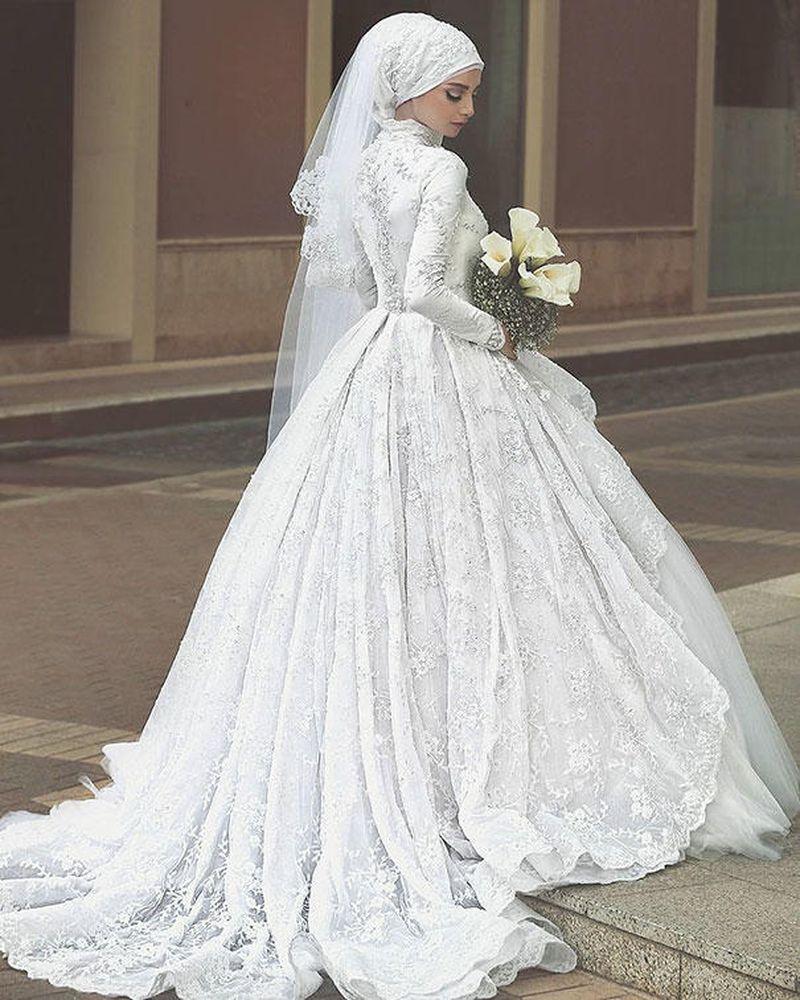 بالصور فساتين اعراس للمحجبات , الحجاب وظهورك يوم الزفاف 615 4