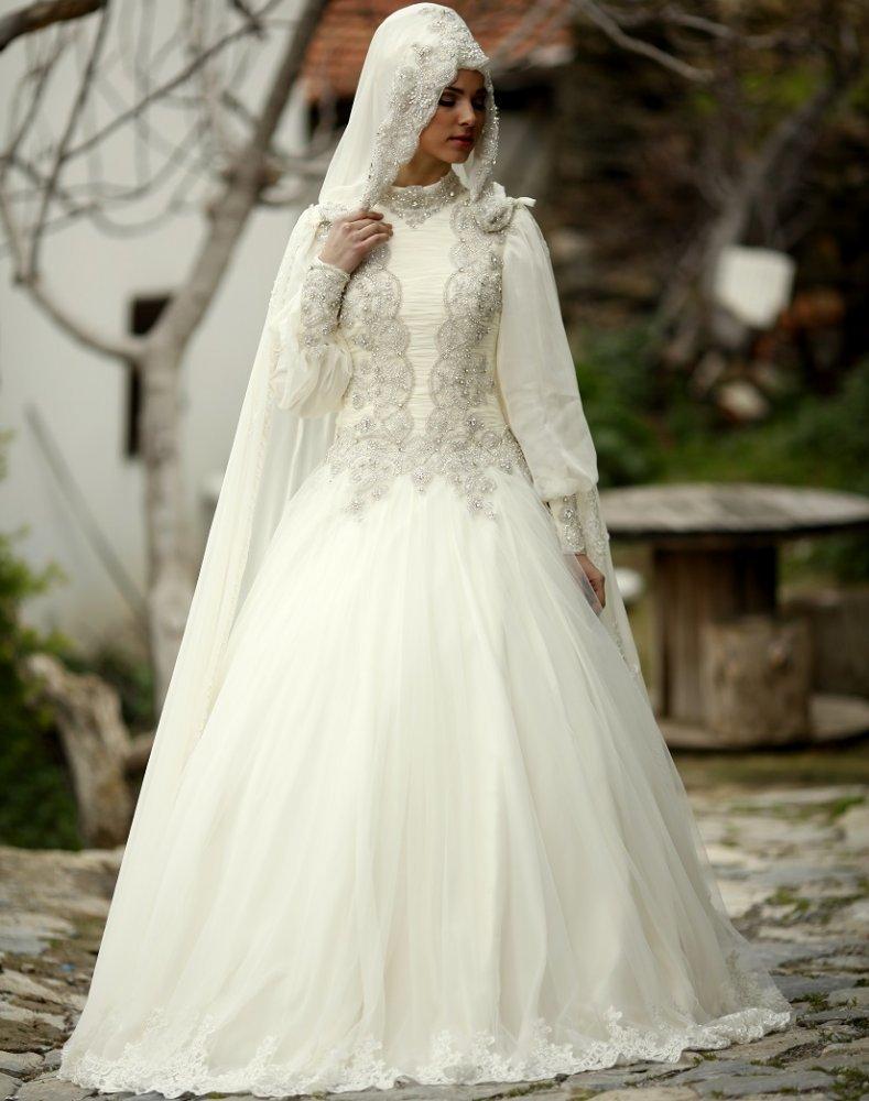 بالصور فساتين اعراس للمحجبات , الحجاب وظهورك يوم الزفاف 615 6