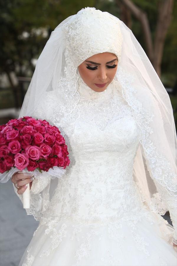 بالصور فساتين اعراس للمحجبات , الحجاب وظهورك يوم الزفاف 615 8