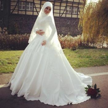 بالصور فساتين زفاف محجبات , اروع فساتين الزفاف 3143 11
