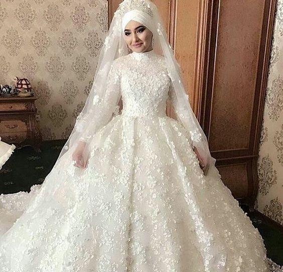 بالصور فساتين زفاف محجبات , اروع فساتين الزفاف 3143 2