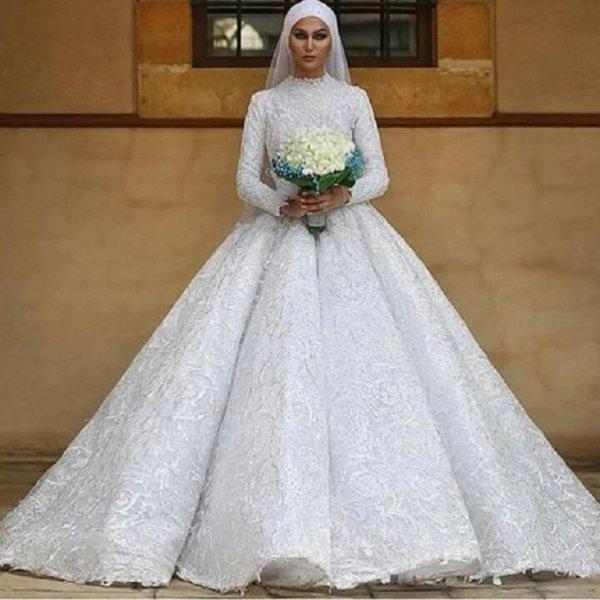 بالصور فساتين زفاف محجبات , اروع فساتين الزفاف 3143 4