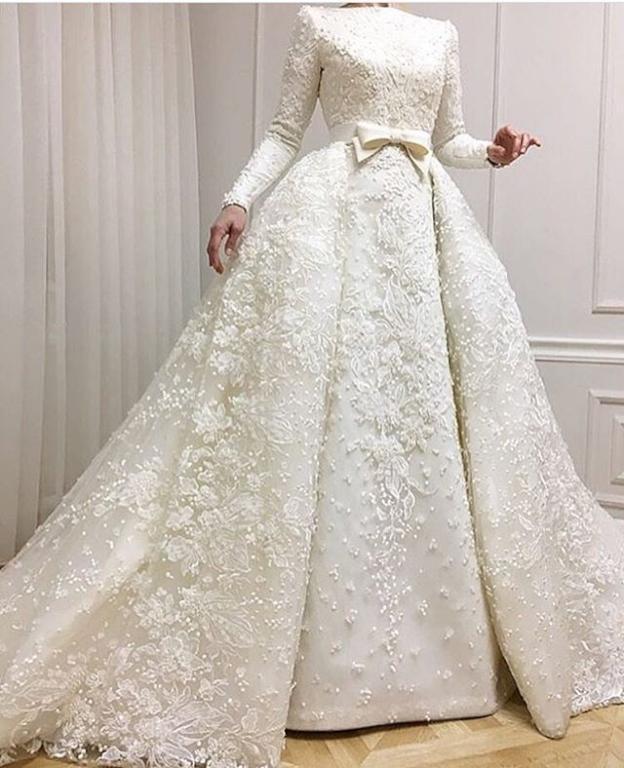 بالصور فساتين زفاف محجبات , اروع فساتين الزفاف 3143 5
