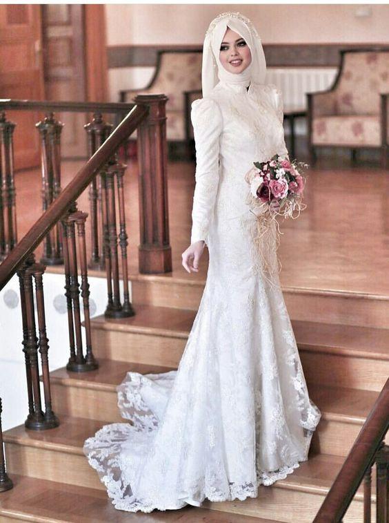 بالصور فساتين زفاف محجبات , اروع فساتين الزفاف 3143 7