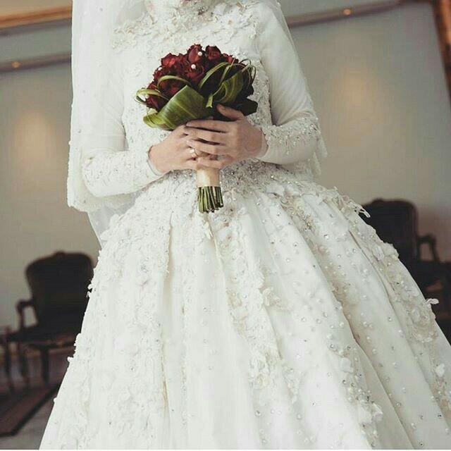 بالصور فساتين زفاف محجبات , اروع فساتين الزفاف 3143 8