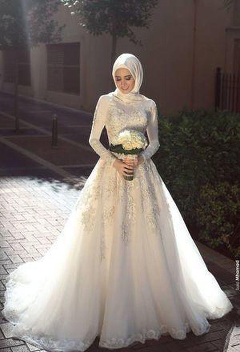 بالصور فساتين زفاف محجبات , اروع فساتين الزفاف 3143 9